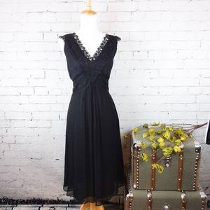 Alfani silk crepe empire waist dress w/ lace